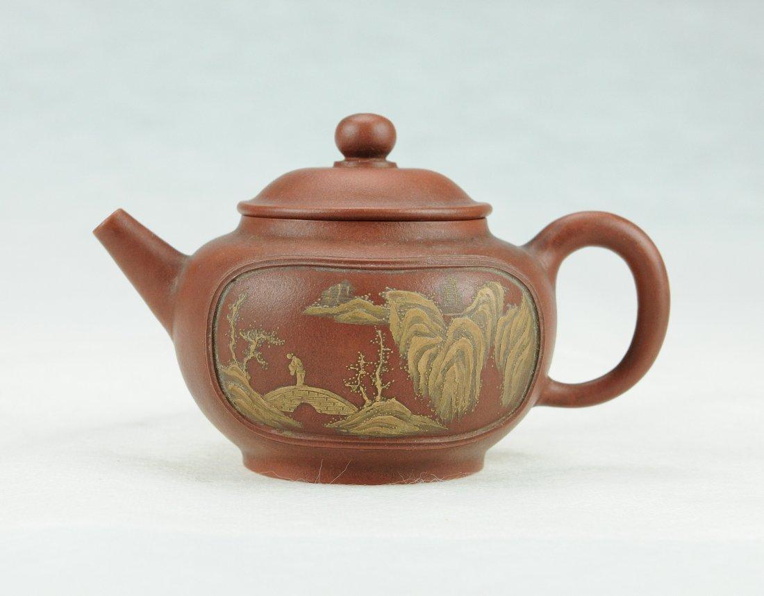 5009: A landscape scene Zisha Teapot