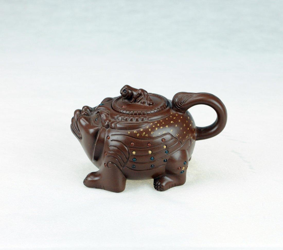 5015: Zhao Hongsheng-A beast style Zisha Tea pot