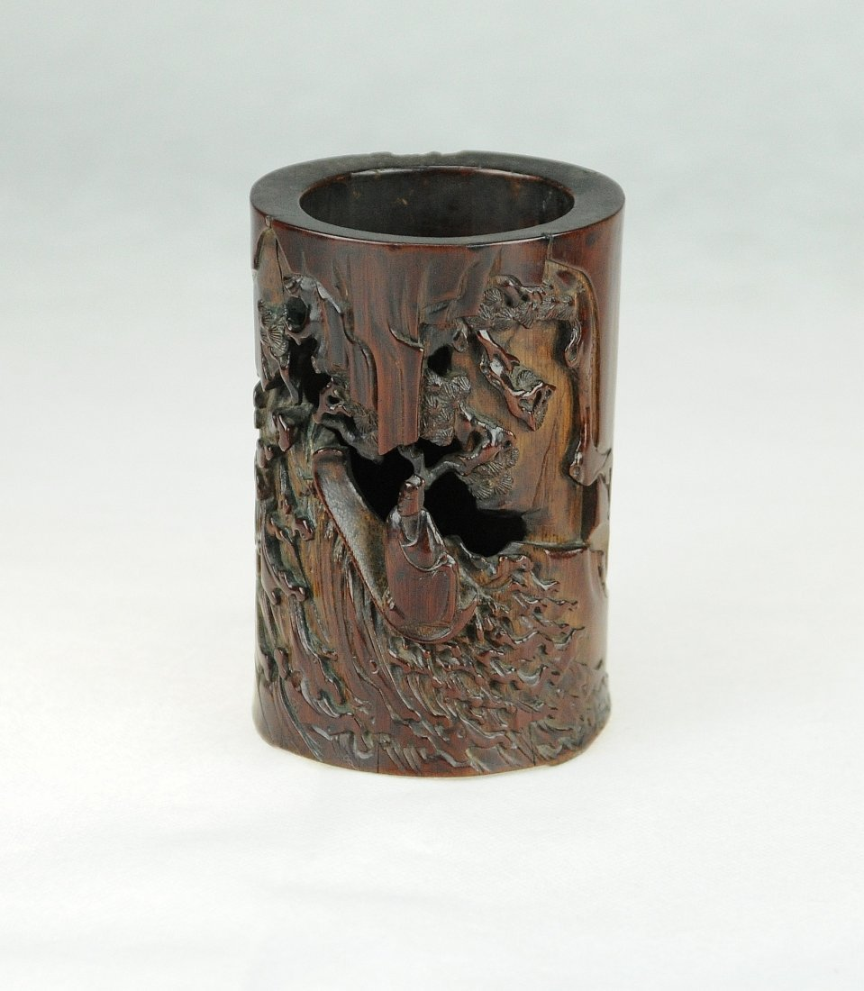 5017: superbly carved important bamboo brushpot, late M