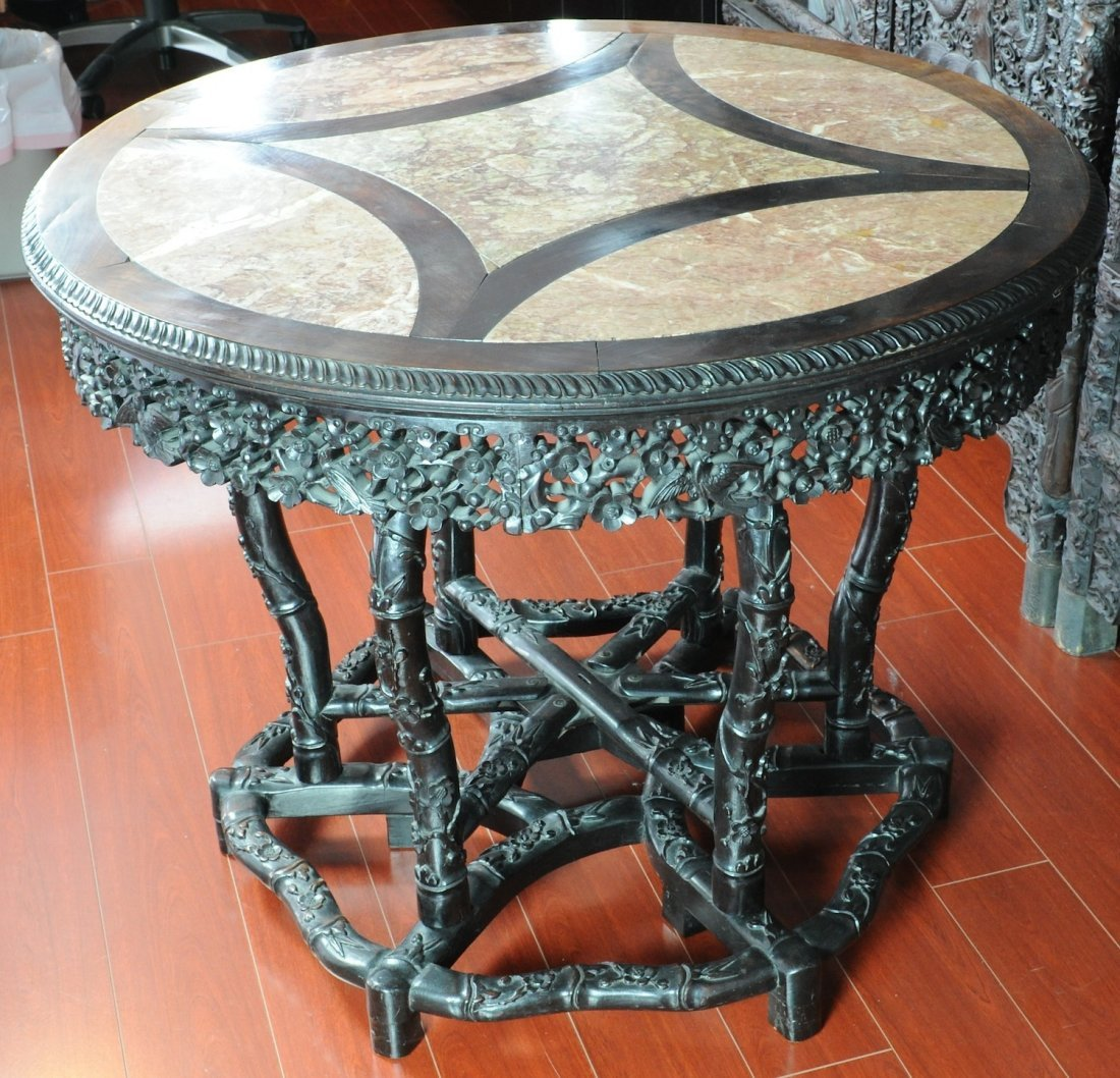 5031: Late Qing / Republic. A rose-wood insert marble c