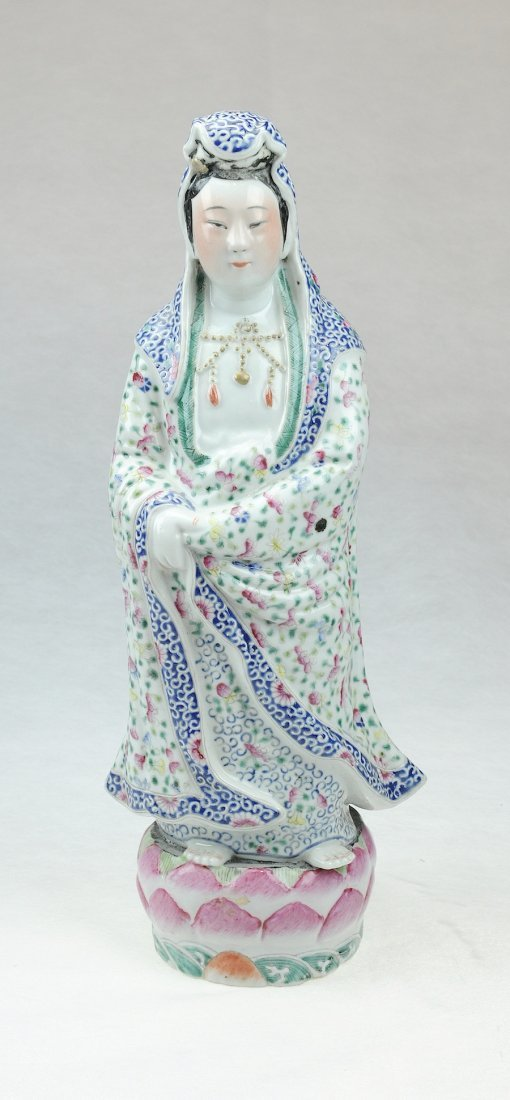 5117: Republic.A famille-rose Guan yin with stand