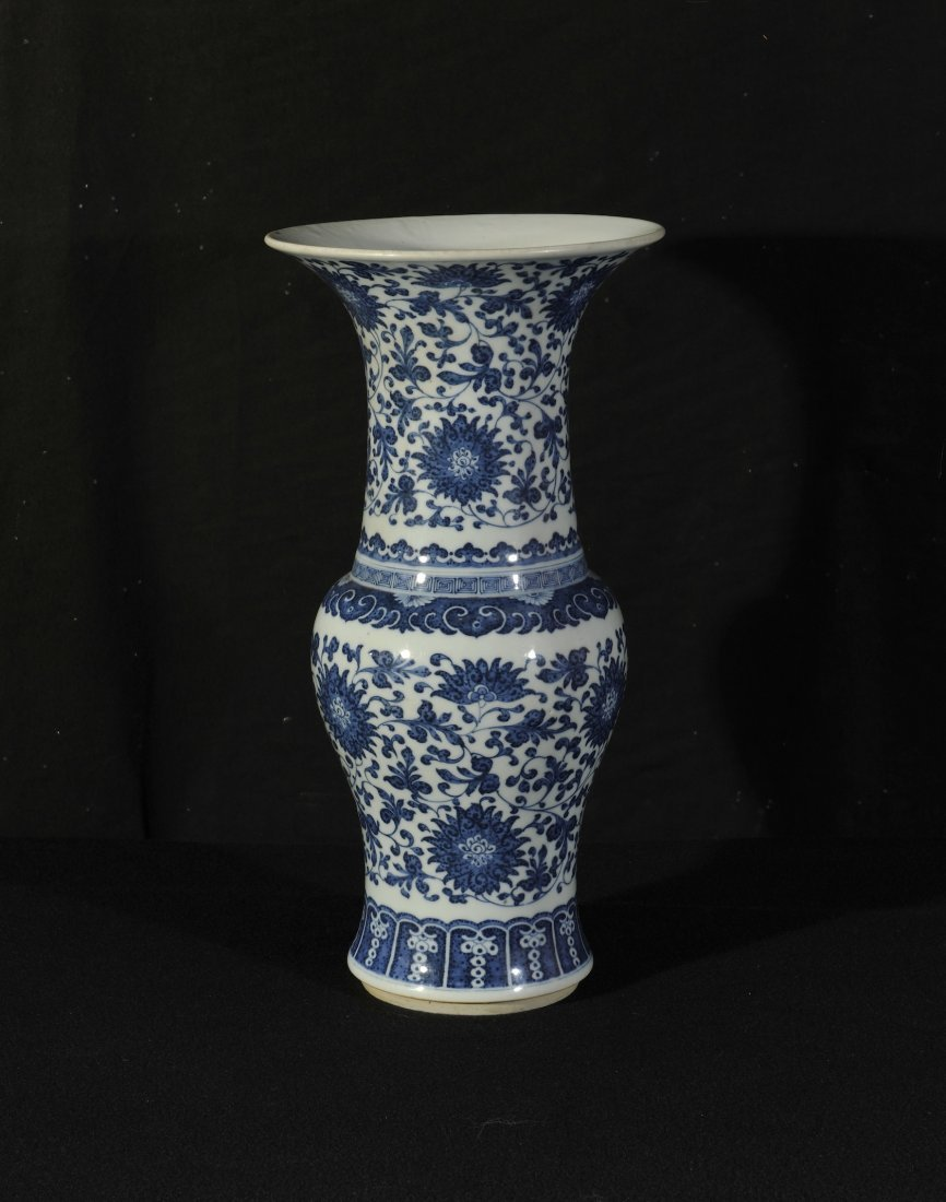 Qing. A blue and white 'Ming style interlocking lotus'