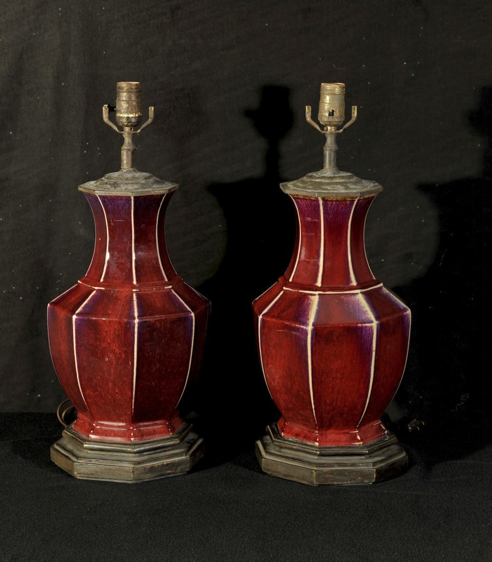 19th Century.A pair of red glaze kiln octagonal vase la