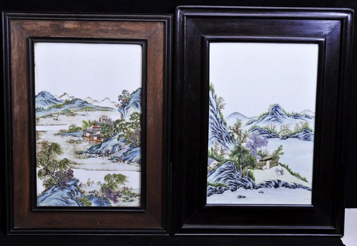 Late Qing.  A pair of porcelain landscape panel with wo