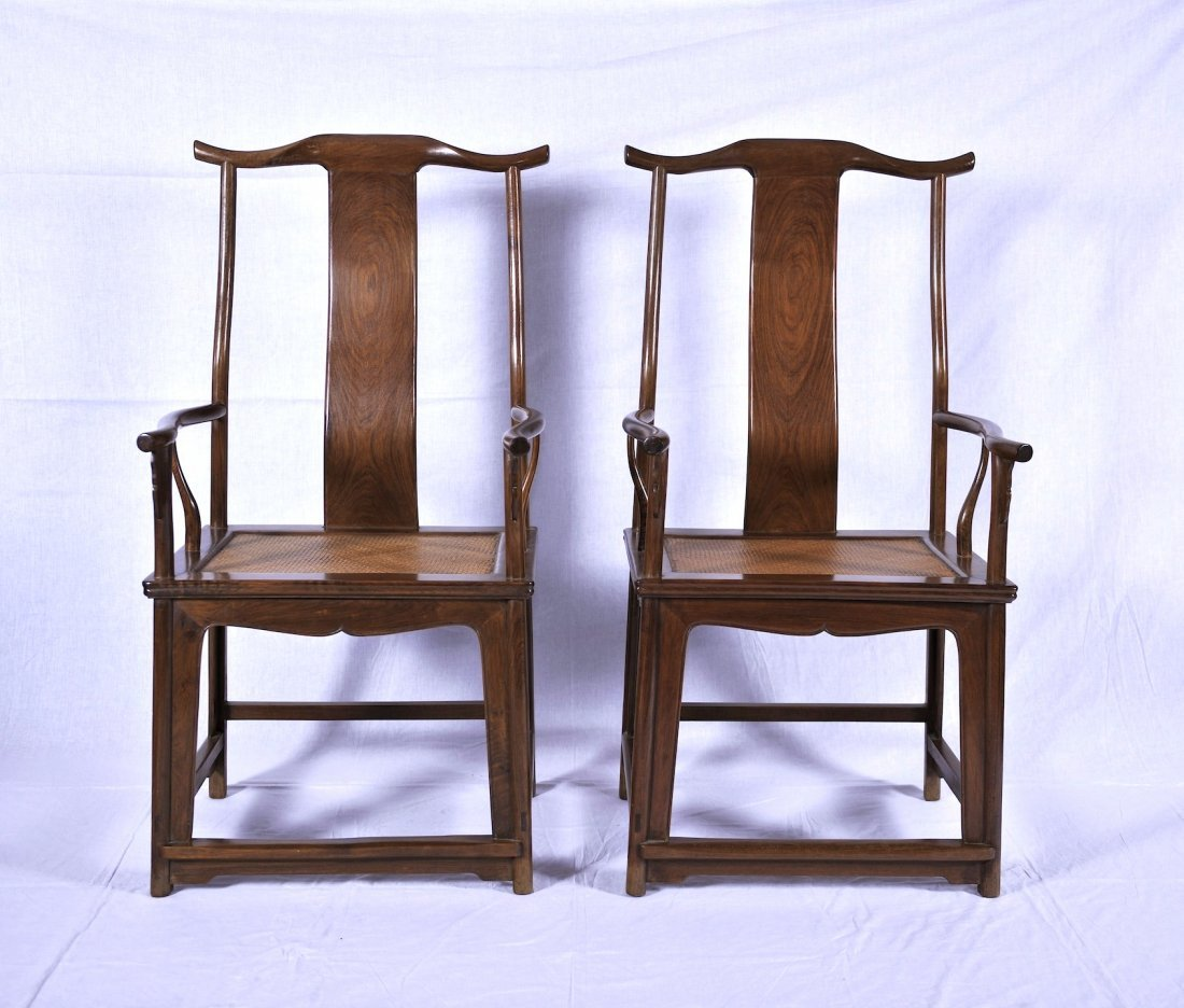 Late Qing.  A pair of Huanghuali high back official's H