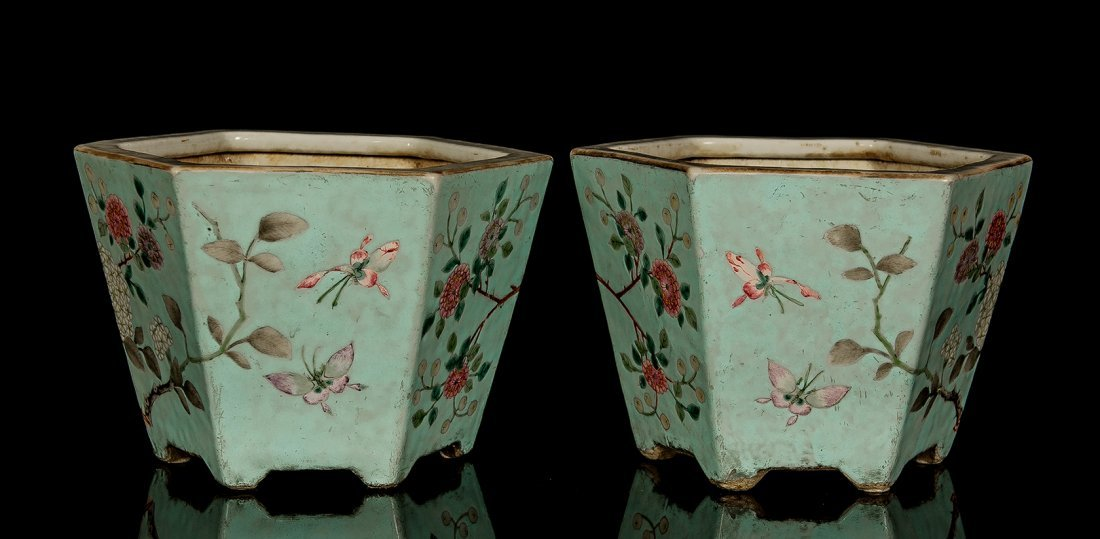 Late Qing.A pair of turquoise ground hexagonal 'Birds a