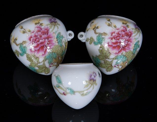 Republic. Three pieces of famille-rose bird feeder cups