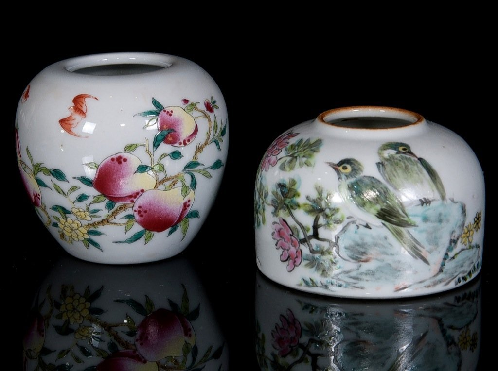 Republic. Two pieces of famille-rose brush washer