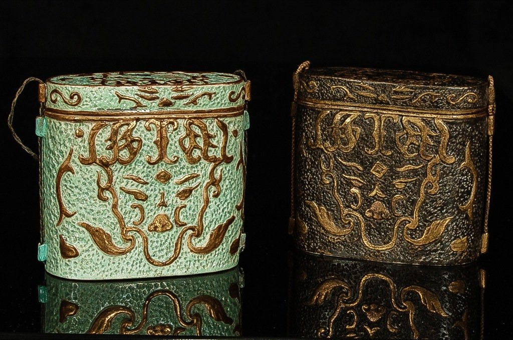 Qianlong and of period.A very rare pair of turquoise an