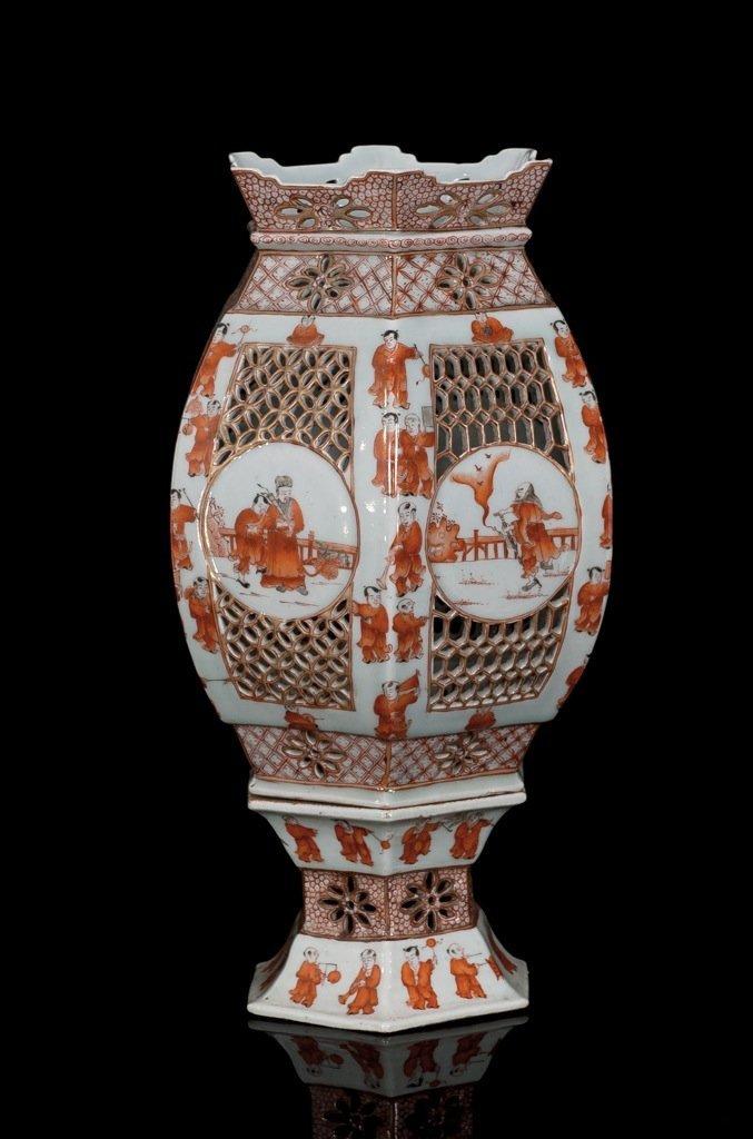Late Qing. An iron red- glaze 'figure' lantern