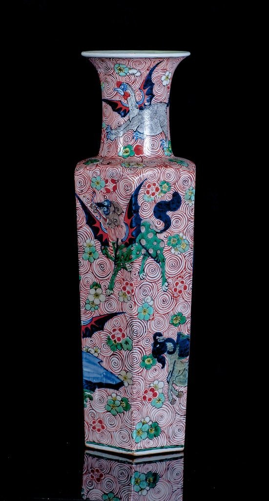 Late Qing.A famille -glaze 'beast' vase