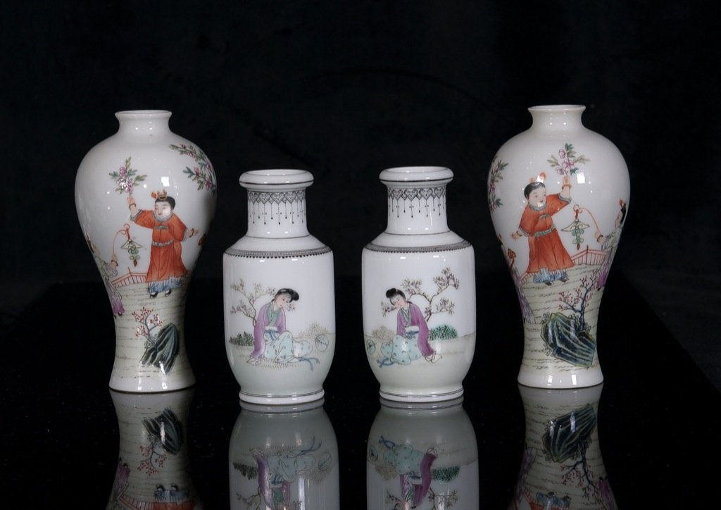 Republic.Two small pair of famille-glaze 'Figure' vases