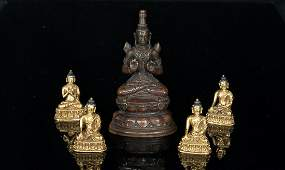 Qing. Five pieces of Buddha statues