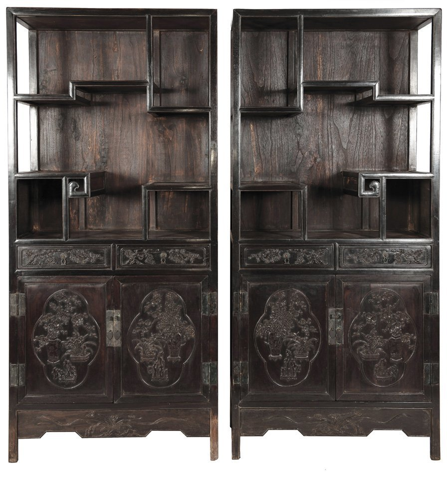 Mid Qing. A pair of ZiTan carved 'flowers' cabinet