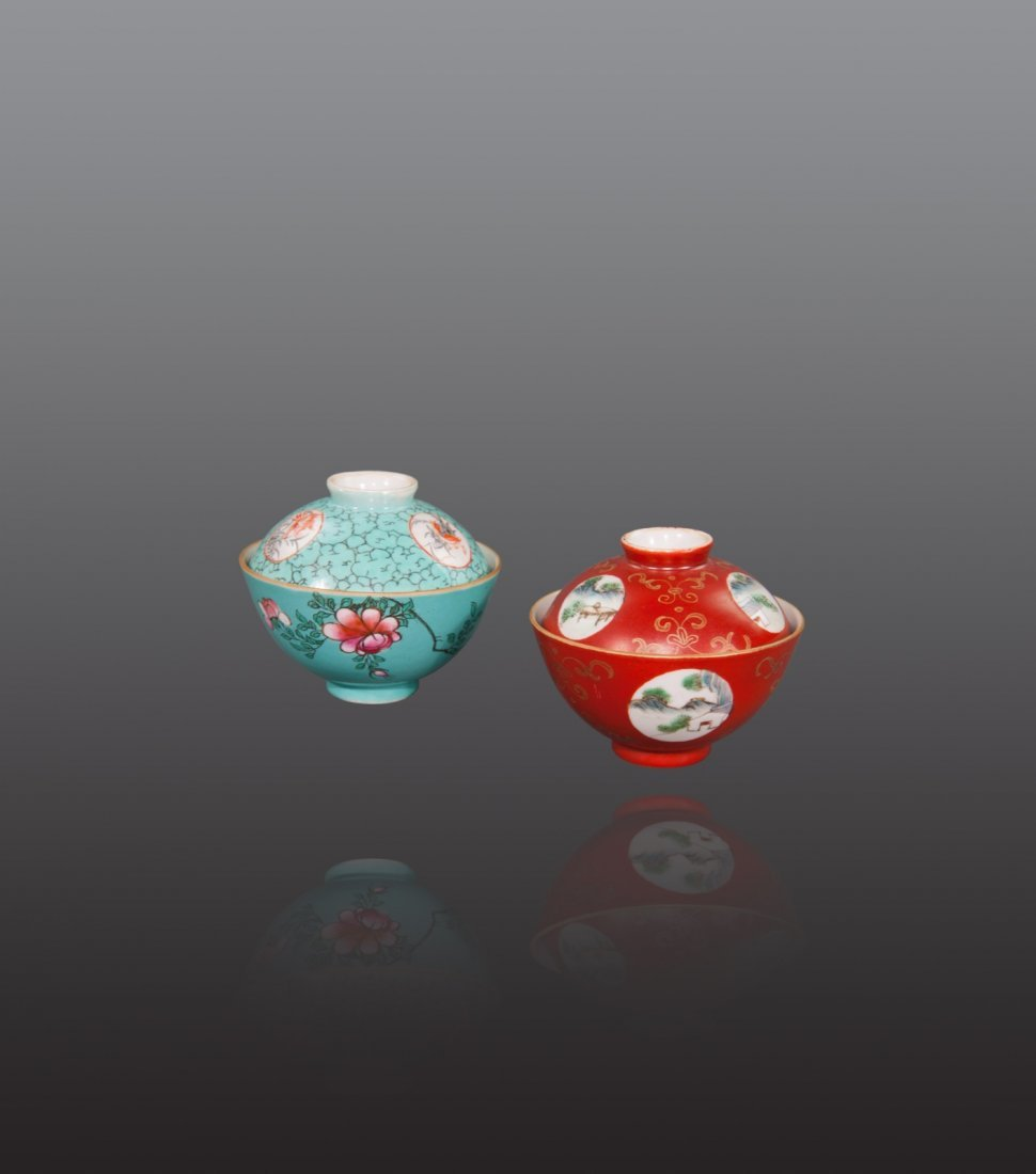 Late Qing - A pair of famille-rose cup and cover
