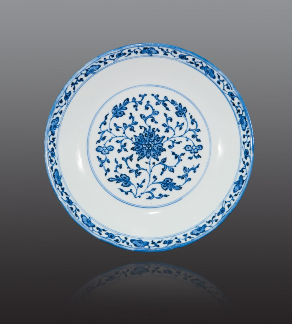 Qing/18th Century - A blue and white 'floralscroll'