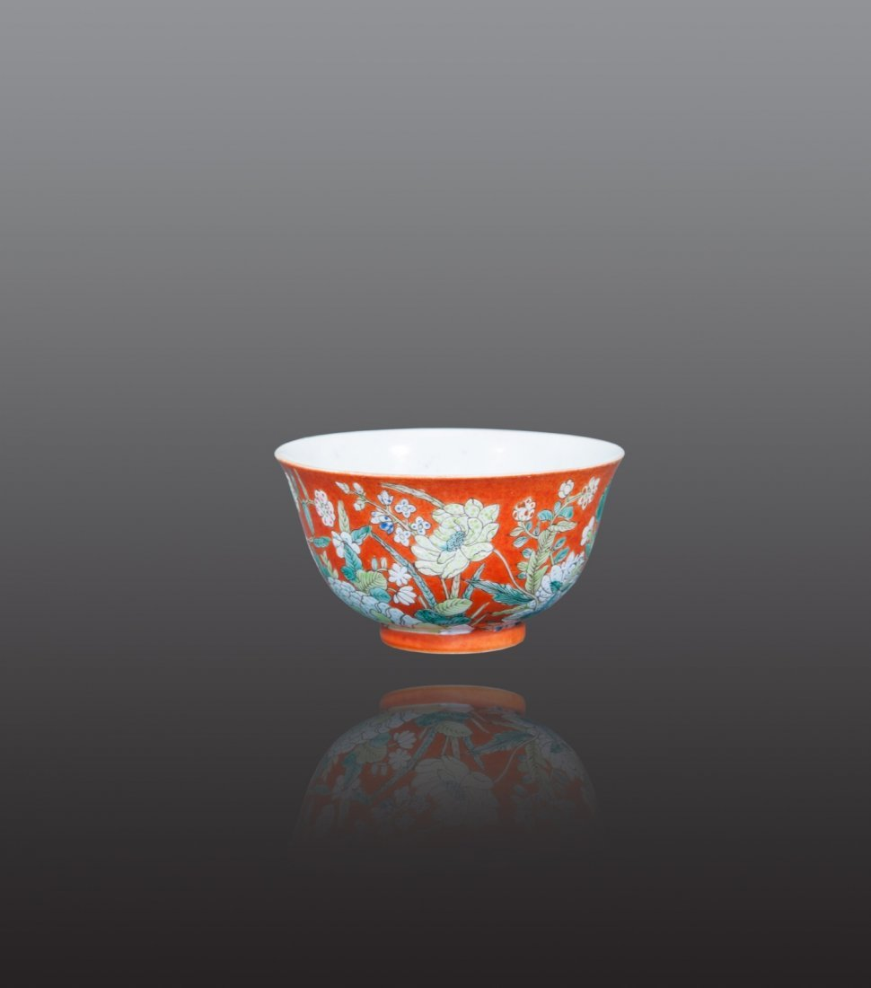 Qing - A coral ground famille- rose ' Lotus' bowl.