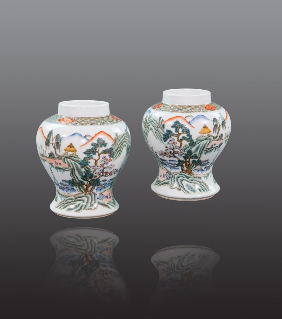 Early 20th Century - A pair of famille-rose landscape