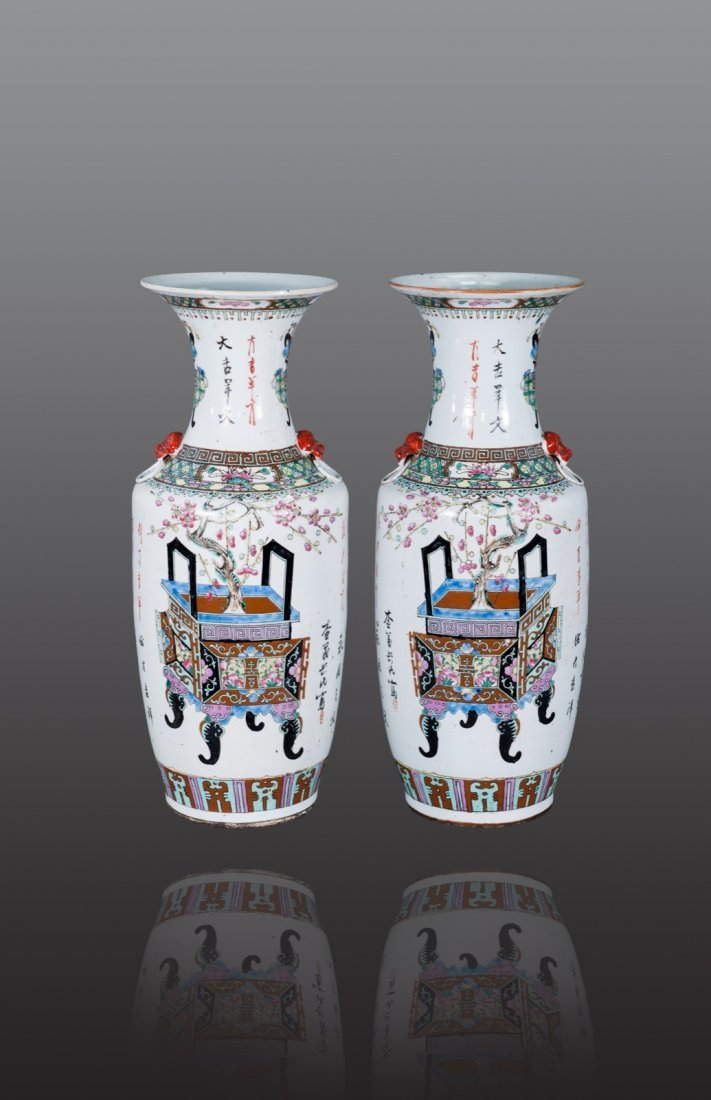 Early 20th Century - A pair of famille-glaze 'Flower