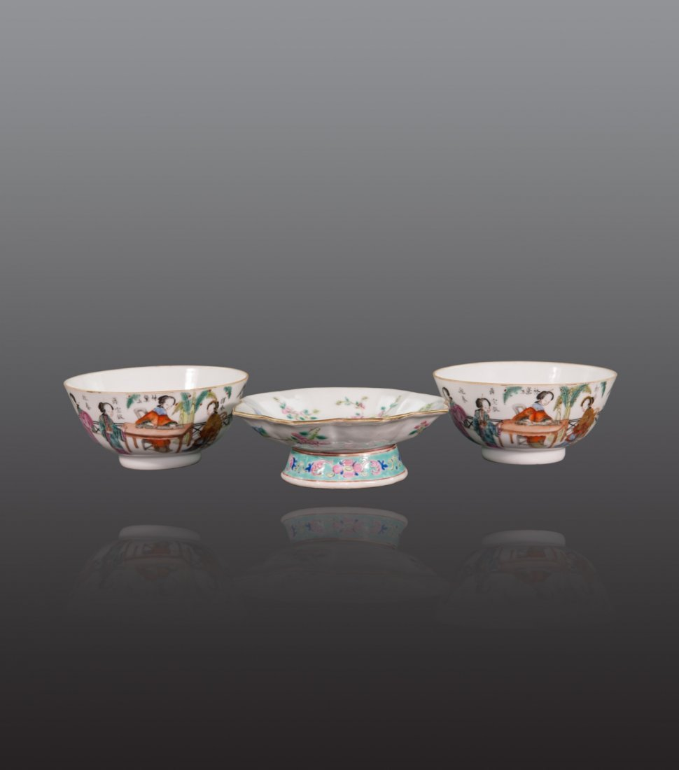 Late Qing - A group of thrce famille-rose bowls