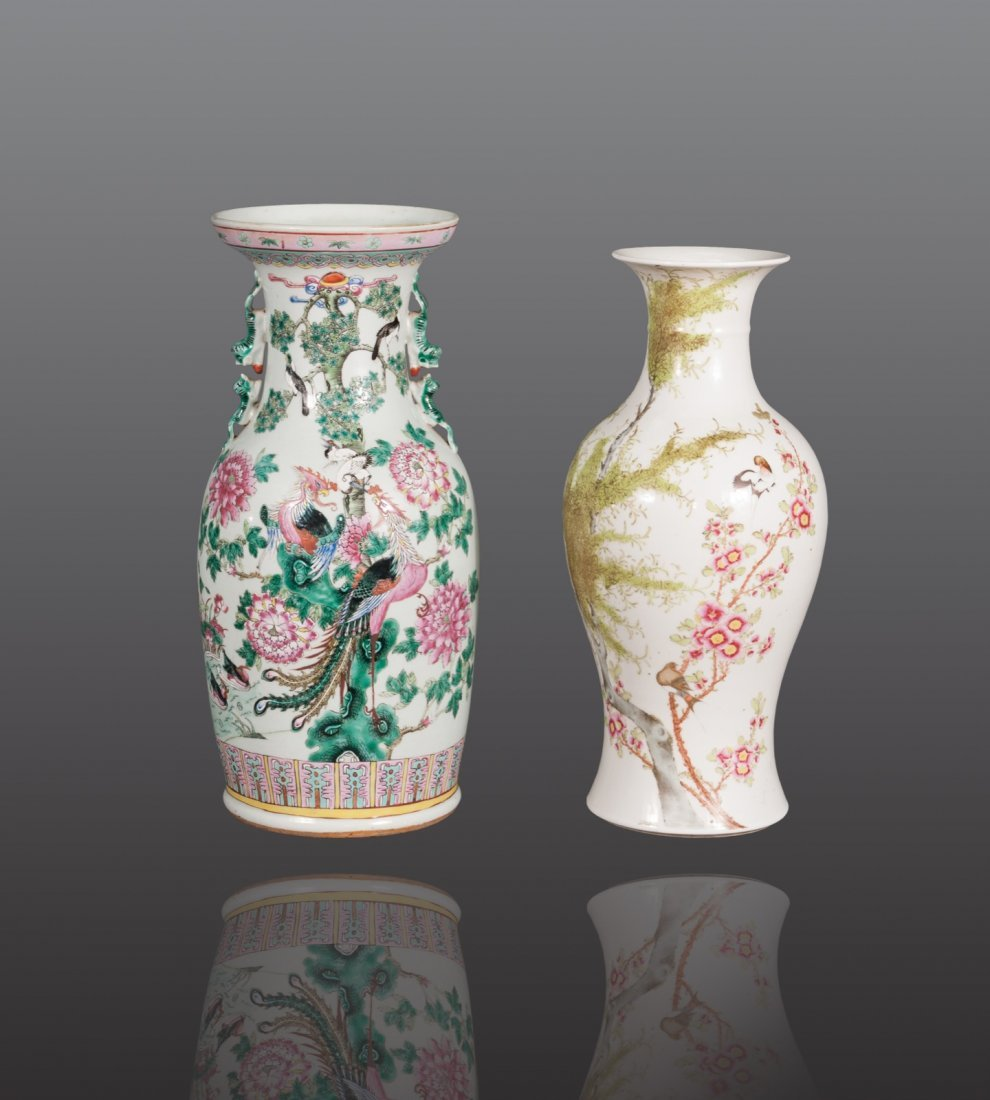 Early 20th century ﹣ A pair of famille-glaze