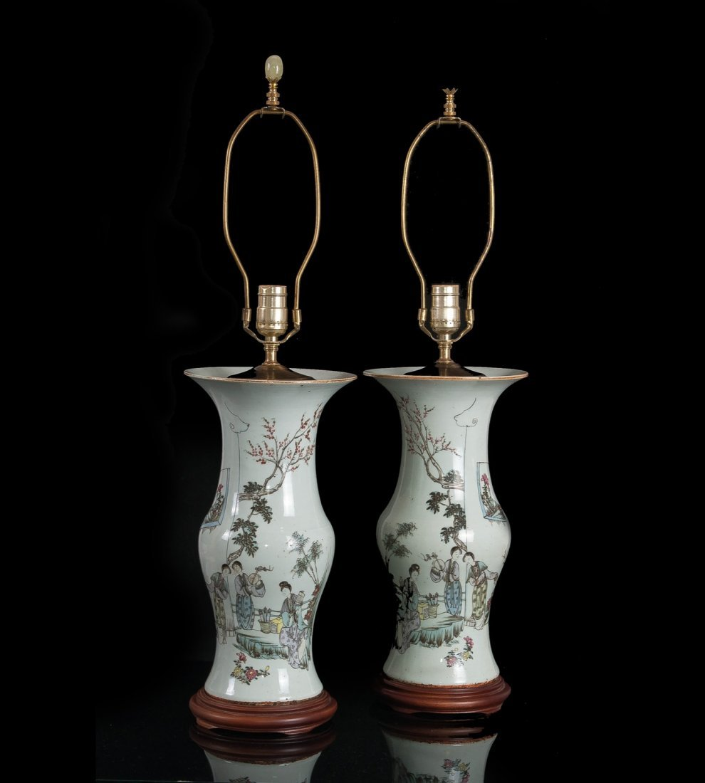 Republic. A pair of famille-rose 'Beauties' lamps with