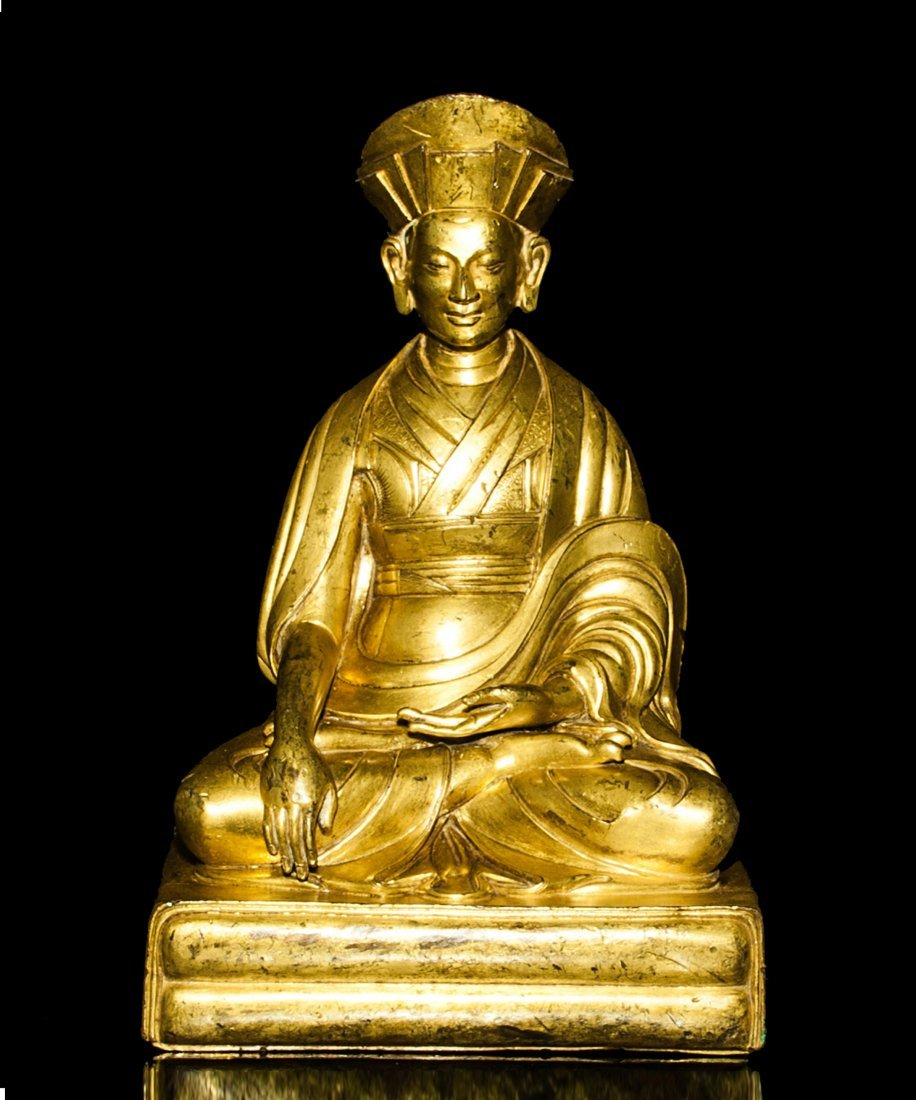 17th/18th Century-A Gilt-Bronze Of Panchen With