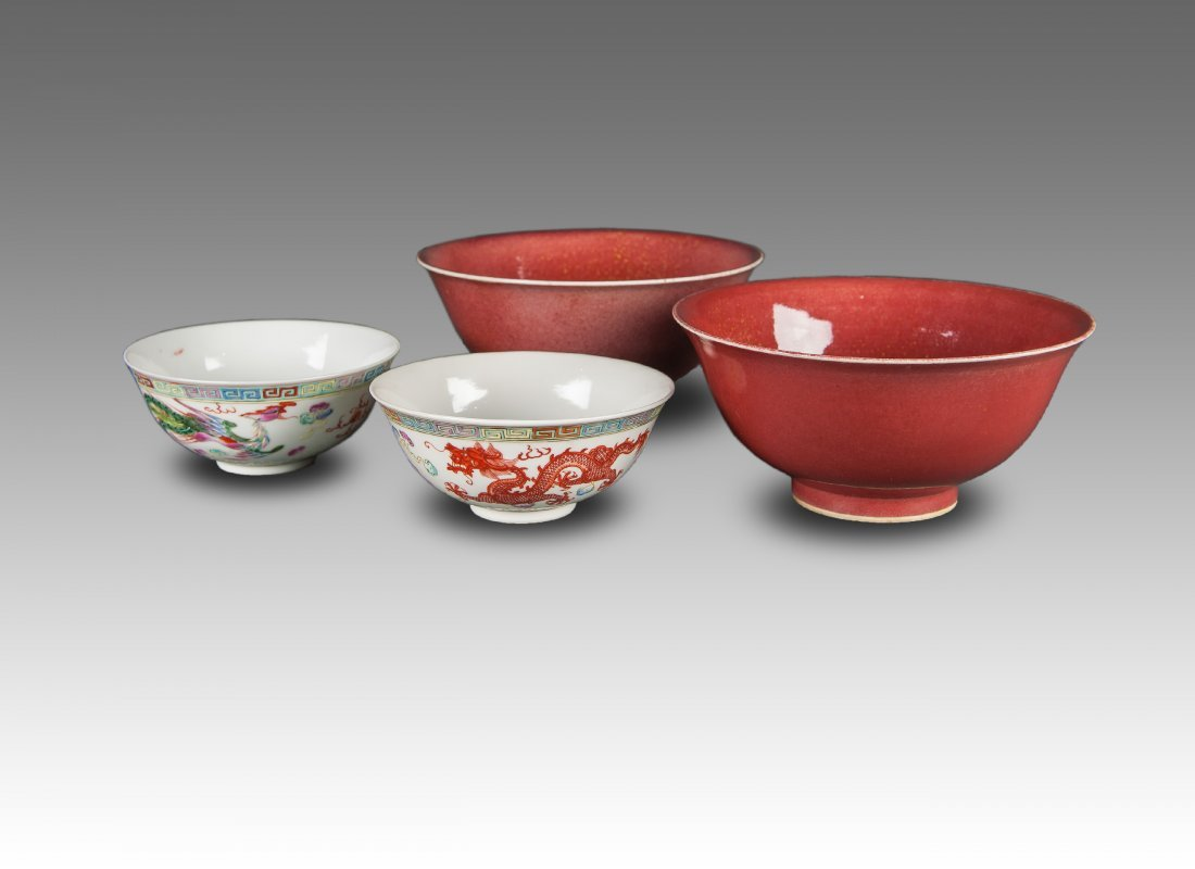 Late Qing / Republic -A Pair Of Red Glazed Bowls