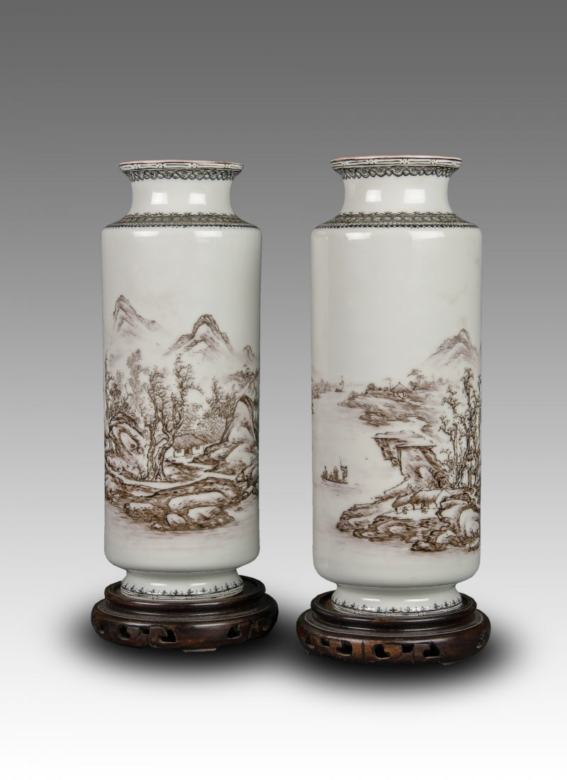 A Pair Of Famille Rose 'Landscape' Porcelain Vases By