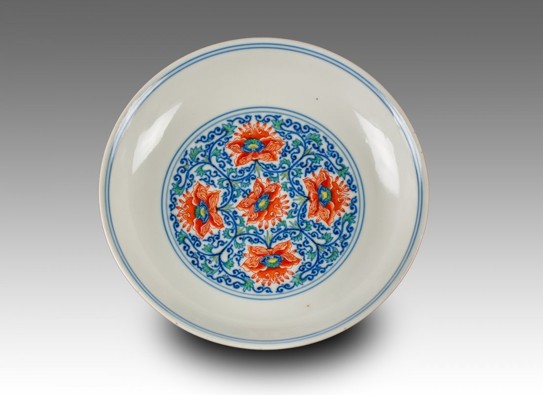 Qianlong And Of Period-A Ducai Interlocking Lotus' Dish
