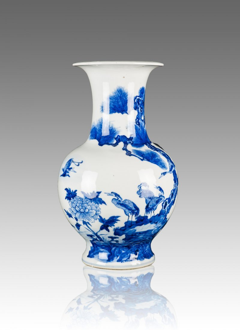 "19th Century-A Blue And White ""Pine, Crane, Peony"" Vase"