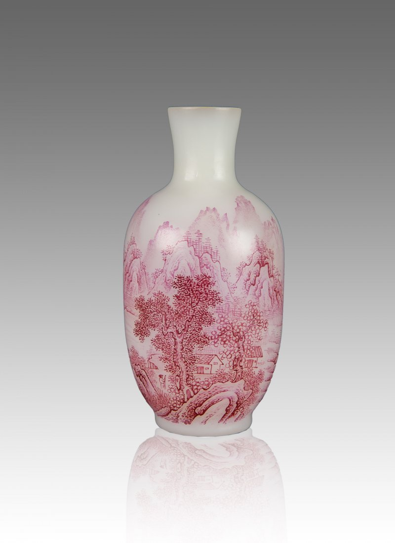 Late Qing/Republic-A White Glass Iron Red 'Landscape'