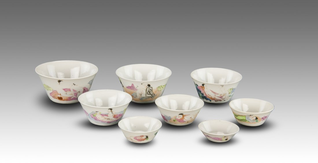 Late Qing -A Group Of Eight Famille-Rose Glaze 'Erotic'
