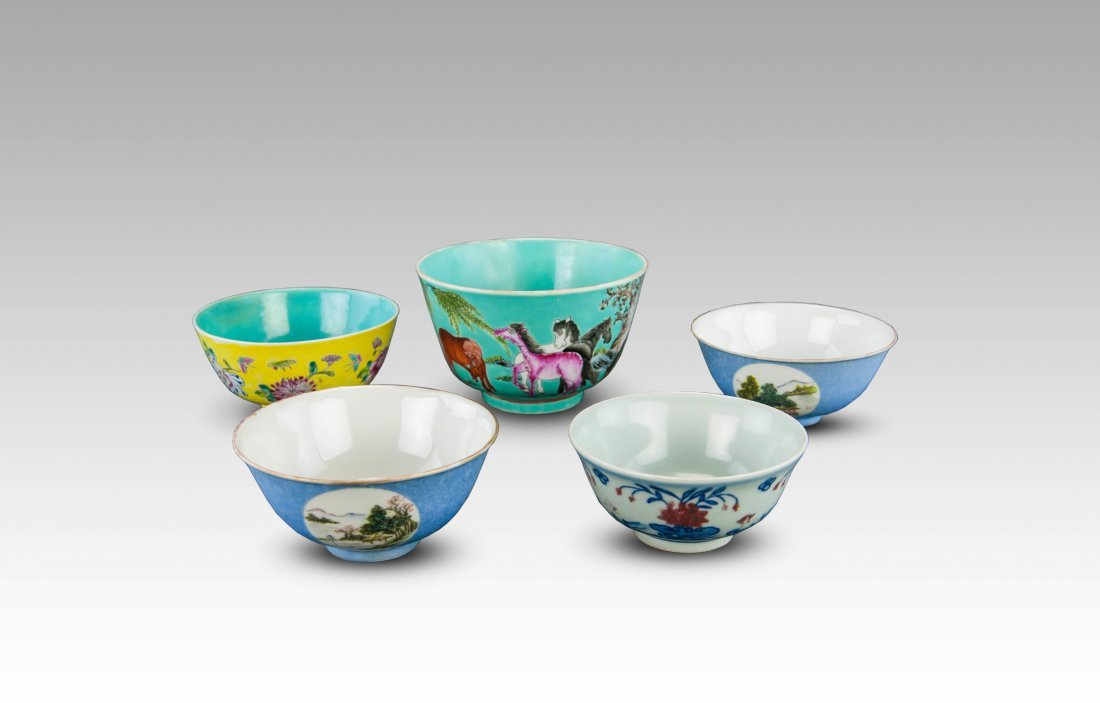 Late Qing/Republic-Four Famille Glaze Bowls ;