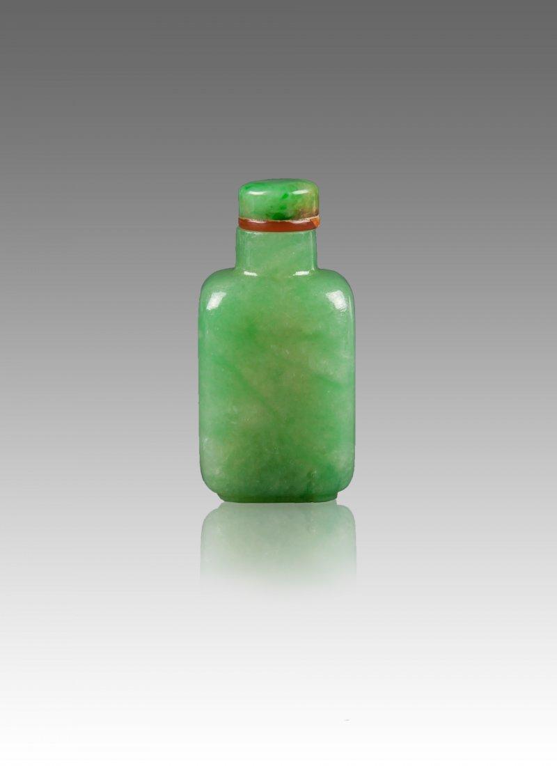 Qing-A Beautiful Semi Translucent Jadeite Snuff Bottle