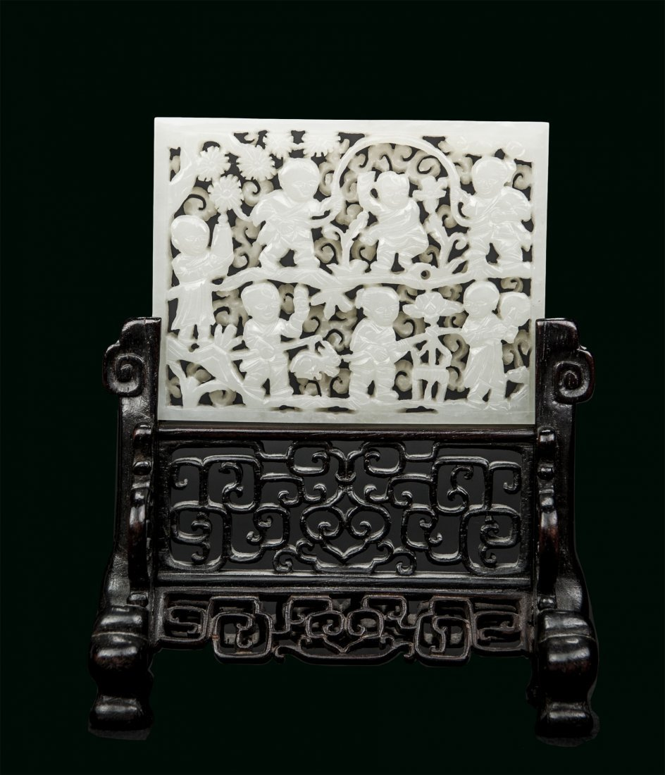 Qing - A white jade carved 'seven children' small table