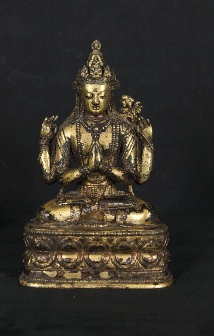 Ming-A gilt Bronze four arms QuanYin