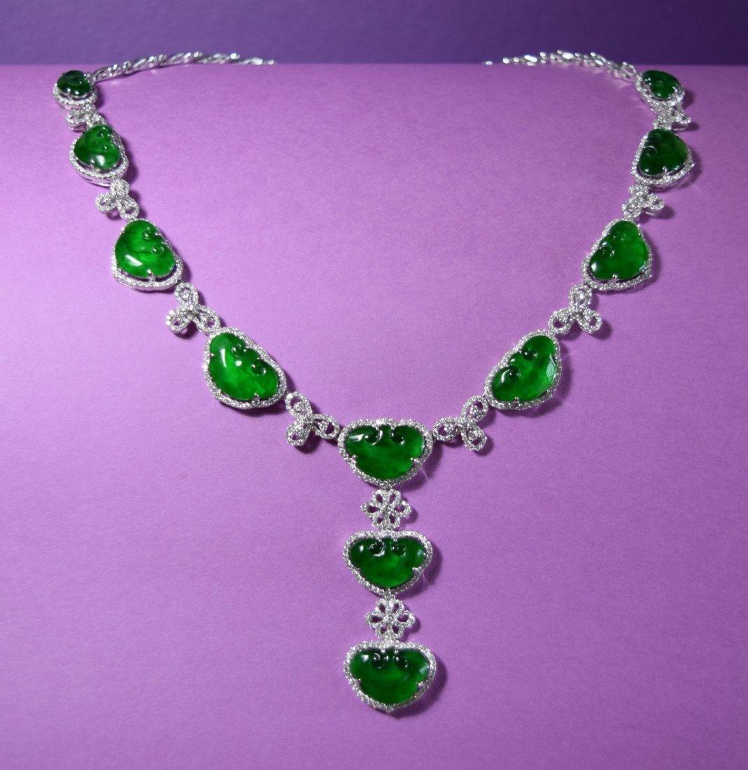 A Stunning Emerald Green Jadeite Jade Diamond Necklace