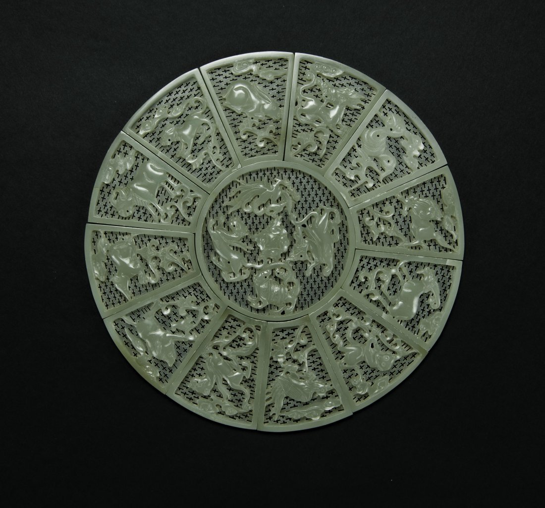 Qing- A Chinese White Jade Carved Twelves Pieces Zodiac