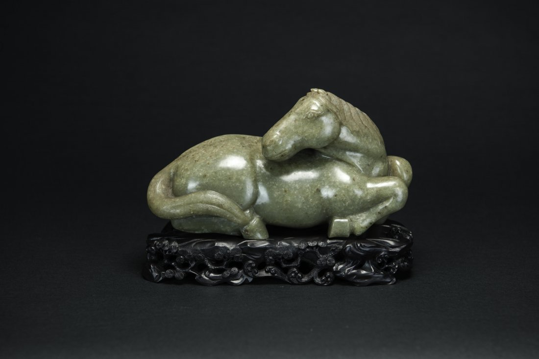 Qing-A Chinese Celdon Jade Recumbent Horse With Wood