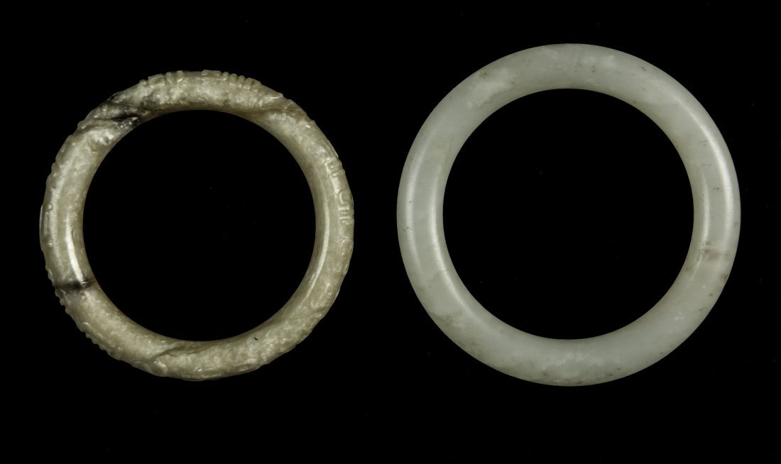 Qing - A White Jade Bangle And Yellow Jade Carved