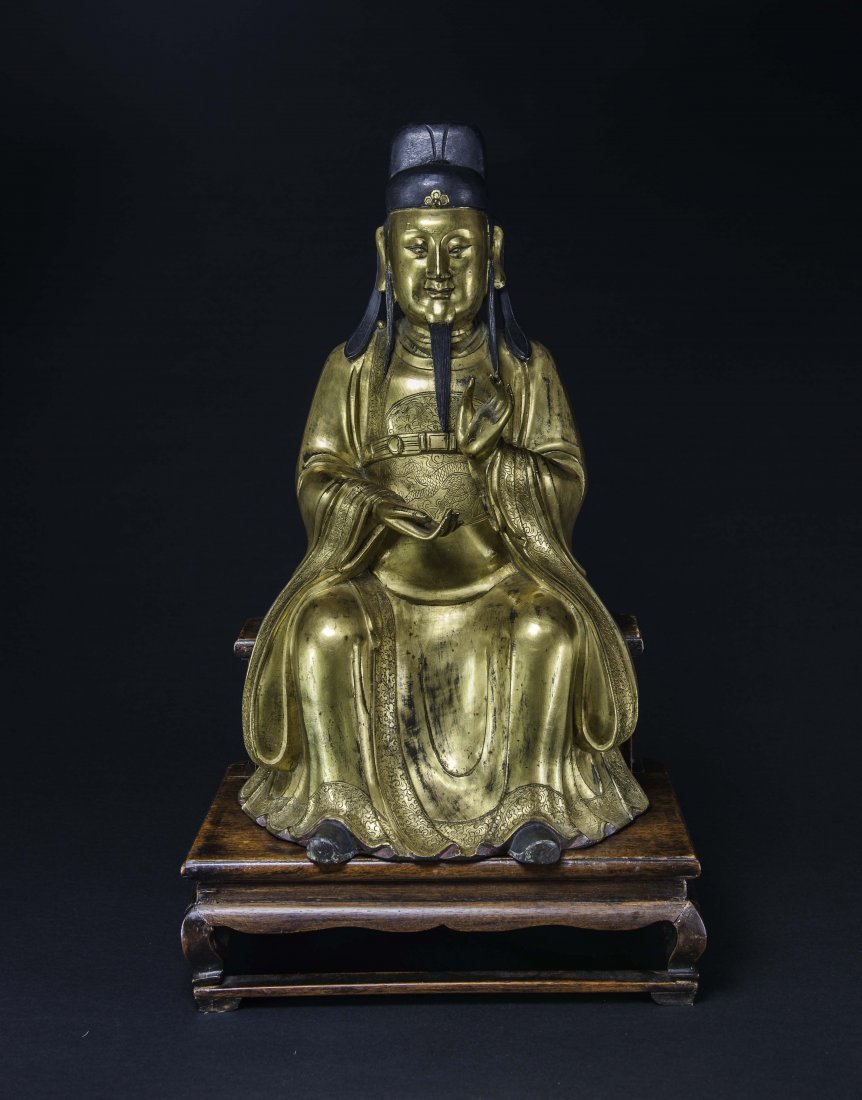 Ming-A Large Chinese Gilt-Bronze Figure Of Daoist