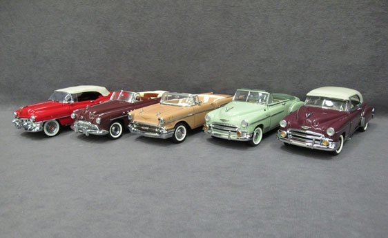 340N: Five (5) 1/24 Scale Franklin Mint Cars
