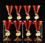 246: Eight Murano Dolphin Footed Ruby Goblets, Italy