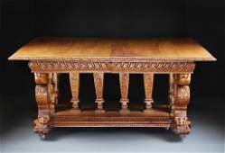 277: Renaissance Revival Oak Center Table