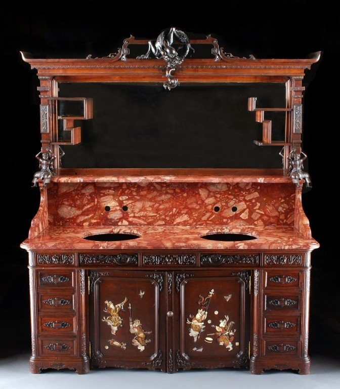 291: Chinoiserie Mahogany Double Sink with Rouge Royal