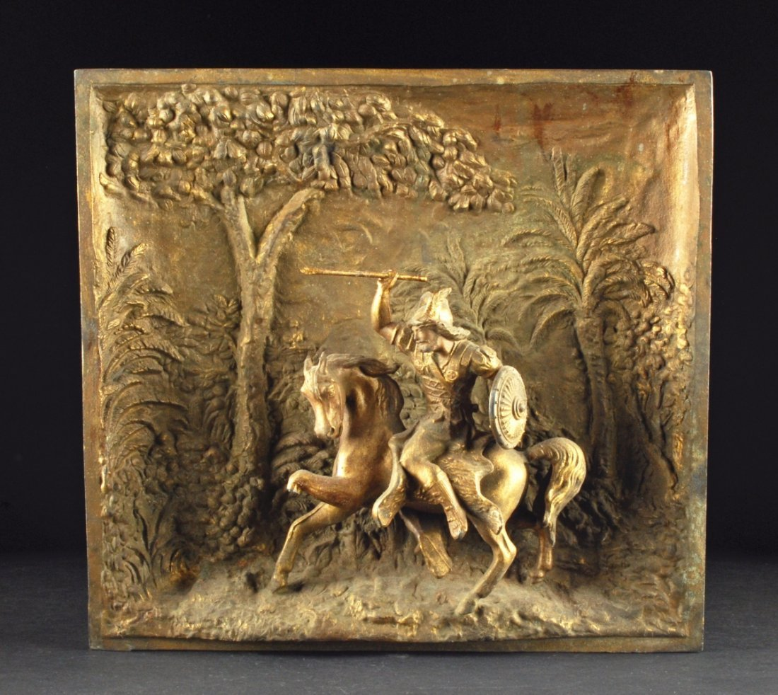 "Antique Metal Plaque depicting a Horse and Rider. 14"" x"
