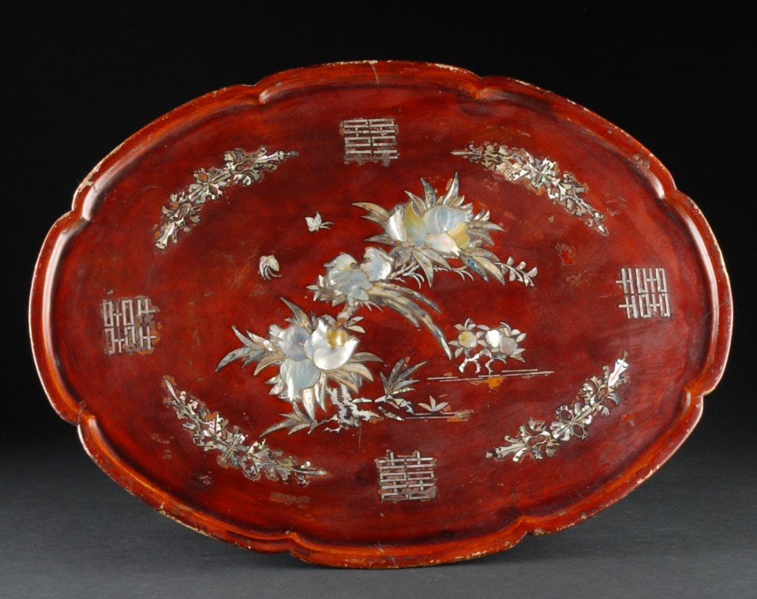 Tray on Stand, 19th Century, having Mother of Pearl inl