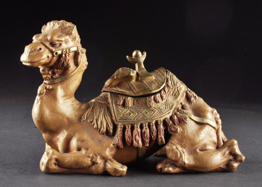 "19TH CENTURY COLD PAINTED CAMEL INKWELL. 6"" X 9"" X 4"""