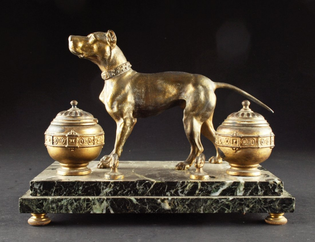 SPELTER DOUBLE INKWELL, having a dog posing on an marbl